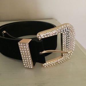 ZARA belt, black with bling buckle